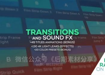 9FCPX插件:缩放冲击滑动平移扭曲水墨炫光转场音效炫光素材725个
